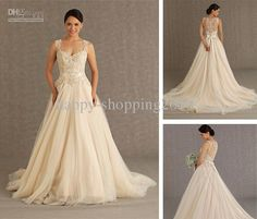 Veluz Reyes 2013 Wedding Dress Tulle Bottom Lace&Satin Top Strap Transparent Back with Button Elegant Champagne Bridal Dress