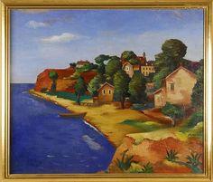 JAN MATULKA, American/Czechoslovakian, 1890-1972, Harbor scene
