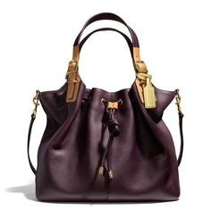 Coach Soft Legacy Drawstring Xl Shoulder Bag In Pebbled Leather by None, via Polyvore