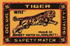 A tiger leaps on the design of this matchbox label.