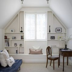 Awesome Attic Home Office Design Ideas : Traditional Attic Home Office With Built In Shelves Around The Window Attic Remodel, Home, Attic Apartment, Bonus Room, Bonus Rooms, Home Office Design, Bonus Room Design, House, Room Design