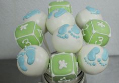 Cute Little Cake Pops For Baby Boy Baby Shower♥