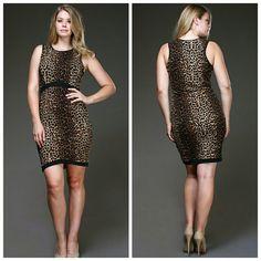 Leopard Print Tank Dress Plus Size Sexy animal print tank mini dress Dresses Mini