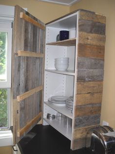 Portland Pallet Works - Pallet cupboards! Gives me an idea - to cover up those ugly, plain cheap shelves you get pretty much everywhere.