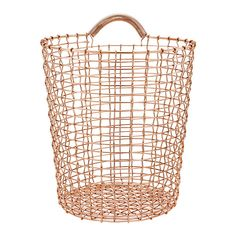 Korbo's Bin 18 wire basket is a beautiful hand-woven metal bucket that features a foldable handle. The bin's diameter is 32 cm and height 35 cm.