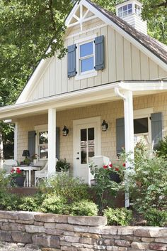 vertical siding, with Shutters!!!!! Cottage Exterior Colors, Exterior Paint Colors For House, Paint Colors For Home, Paint Colours, Beige House Exterior, House Shutter Colors, Exterior Home Painting, Stone On House Exterior, Grey Siding House