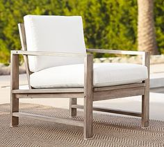 Indio Occasional Chair #potterybarn in the outdoor canvas natural cushion