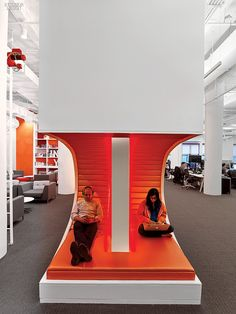 They're Onto Something Big: AppNexus's Playful Flatiron Office by Agatha Habjan   Wool-upholstered chairs furnish the lounge. #design #interiordesign #interiordesignmagazine #architecture #office #furniture