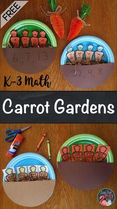 4 Terrific Carrot Themed Math and Literacy Activities - Just Ask Judy Math Literacy, Literacy Activities, Fun Math, Kindergarten Math, Math Resources, Teaching Math, Teaching Ideas, First Grade Freebies, First Grade Activities
