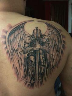 Amazing Warrior Guardian Angel Tattoo Designs For Guys - Best Angel Tattoos: Cool Angel Tattoo Designs and Ideas For Men - Guardian Angels, Warrior Angels, Praying