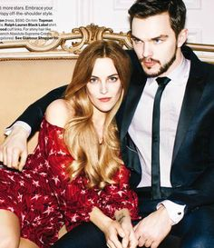"""Mad Fashion"" Riley Keough and Nicholas Hoult for Glamour US May 2015"