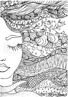 Drawing Doodles Ideas ink doodle womans face and flowing coloring page zendala Doodle Art Drawing, Zentangle Drawings, Zentangle Patterns, Art Drawings, Zentangles, Doodle Doodle, Doodle Books, Doodle Pages, Doodle Art Journals