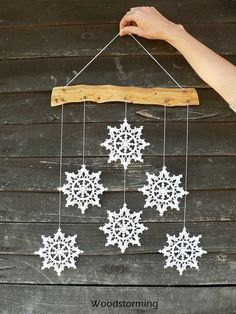 Snowflakes mobile - Christmas decoration - holiday home decor - snowflake and wood ornament for home decor christmas Crochet snowflakes mobile - hygge home decor - Christmas wall hanging - holiday home decor - snowflake and wood ornament Elegant Christmas Decor, Crochet Christmas Decorations, Christmas Decorations For The Home, Holiday Crafts, Christmas Holidays, Christmas Ornaments, Etsy Christmas, Christmas Tree, Crochet Snowflake Pattern
