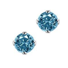 1 ct. Blue - I1 Round Brilliant Cut Diamond Earring Studs in 14K White Gold