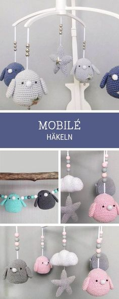 Crochet pattern for a mobile with crocheted birds, amigurumi pattern / a . Crochet pattern for a mobile with crocheted birds, amigurumi pattern / amigurumi baby mobile, crochet pattern via DaWand. Crochet Blanket Patterns, Baby Blanket Crochet, Baby Knitting Patterns, Amigurumi Patterns, Diy Crochet, Crochet Toys, Crochet Mobile, Diy Bebe, Baby Mobile