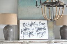 Be Joyful in Hope {Hand lettered} framed wood sign, Christian home decor Hope Sign, Dining Room Wall Art, Family Values, Inspirational Message, Wall Signs, Joyful, Hand Lettering, Messages, Words