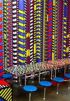 Variety / cultural fusion / experimentation / interaction of different identities. Wall Patterns, Print Patterns, 80s Interior Design, Camille Walala, Memphis Design, Textiles, Mural Wall Art, Inspiration Wall, Colorful Pictures