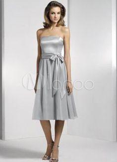 Silver Strapless Sash Bridesmaid Dress - Milanoo.com