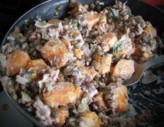 Roasted squash with ham & lentils - CookTogether