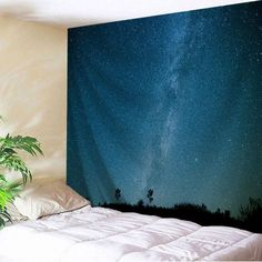 NIGHT BLUE Night Sky Wall Hanging Bedroom Decor Tapestry W71 INCH * L91 INCH