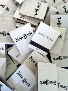new york matchbook black white inspiration matches Or Noir, Black And White City, Empire State Of Mind, I Love Nyc, Typography, Lettering, City That Never Sleeps, Concrete Jungle, City Photography