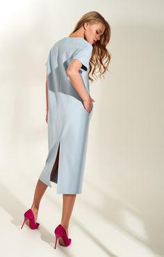 a7eab874e55 Лаконичное платье-миди с коротким рукавом из смесовой вискозы TOPTOP STUDIO    2000001160619-5