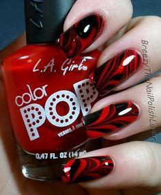 55 Classic Red and Black Nail Art Designs Red Black Nails, Red Nails, Hair And Nails, Black Ombre, Fabulous Nails, Gorgeous Nails, Pretty Nails, Nagellack Design, Nagellack Trends