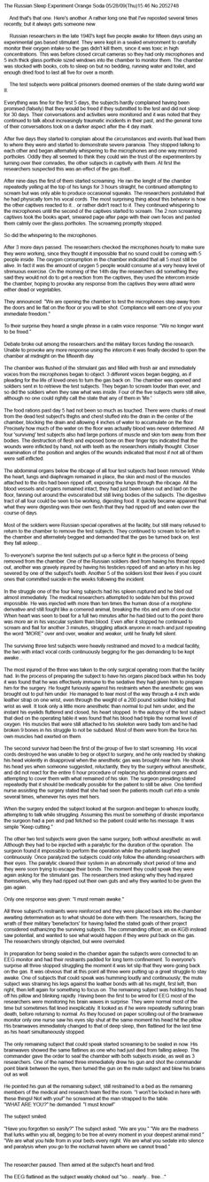 Russian Sleep Experiment: the best short story I've read.