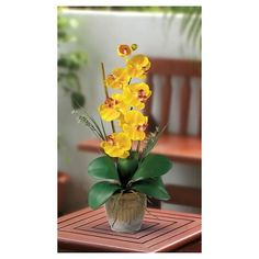 Nearly Natural Phalaenopsis Silk Orchid Flower Arrangement Yellow