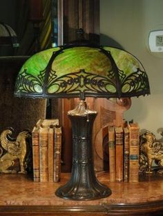 Fabulous Large Art Nouveau/ Arts & Crafts Slag Glass Lamp from stidwillsantiques on Ruby Lane by kasia.ja.581
