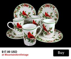 Christmas Dessert Plates and Mugs American Atelier Cardinal Pattern Service for Four  This is a set of four Christmas dessert plates and matching mugs by American Atelier.  #christmas #dessertplates  #dinerware #plates #mugs  #cardinal #vintage #mountainairevintage