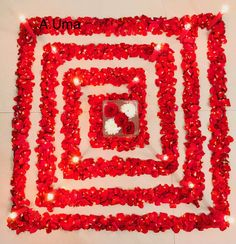 Beautiful and unique square shape flower design with red candles for Diwali festival. Thali Decoration Ideas, Diwali Decorations, Festival Decorations, Flower Decorations, Flower Rangoli, Flower Mandala, Rangoli Colours, Floating Flowers, Diwali Festival