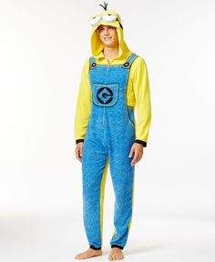 ea6baa616699 Briefly Stated Despicable Me Minion Hooded One-Piece Pajama Suit Men -  Pajamas