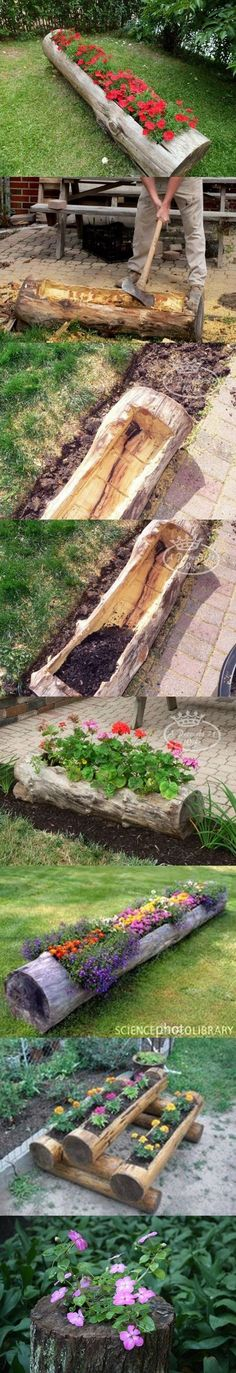 Really cute for a wooded yard espcially. This link has lots of other great ideas too. Make Beautiful Log Garden Planter