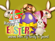 Greet your #family members on #Easter with special wishes, send them this #ecard. #HappyEaster #EasterBunny #egghunt wishes & greetings. www.123greetings.com
