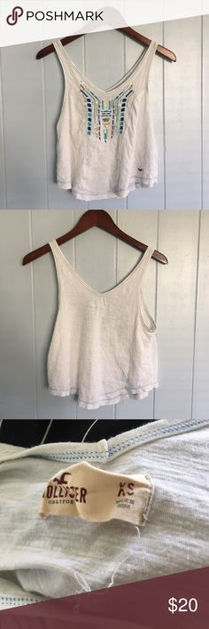 Hollister Embroidered Beaded Boho White Tank Top Hollister Embroidered Beaded Boho White Tank Top Hollister Tops Tank Tops