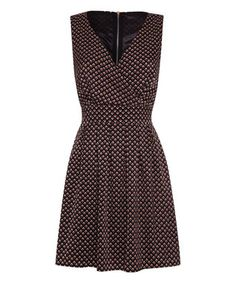 Black & Maroon Floral Tie-Back Surplice Dress