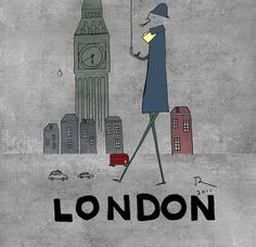London print Blue london art prints Umbrella by OrangeOptimist    Love This Limited Edition print on Etsy- Only $45.00?? Wow! A steal!