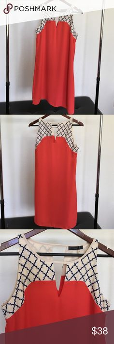 Coral sleeveless dress. This coral dress is sleeveless and comes just above the knee. It's a shift dress that fits like its tailored. True to size fit. New. Never been worn. The detail stitching on top is navy blue. It's the perfect dress for brunch, or day out shopping. Thml clothing Dresses Midi