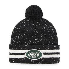 NFL New York Jets Womens 47 Amelia Cuff Knit Beanie with Pom Black One Size >>> See this great product.