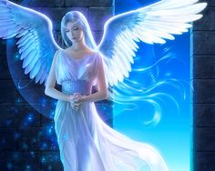wallpaper with female Angels | road, angel, anime, anime girl, blue, cute, fantasy, feather, female ...