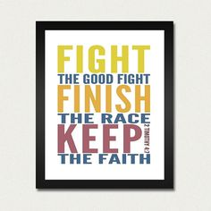 Bible Print / Scripture Poster  Fight the Good by happylandings, $10.00