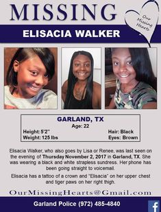 Find missing Elisacia Walker!She has been missing for over five months.Why are we just hearing about her Where Are You Now, 125 Lbs, Amber Alert, Picture Sharing, Missing Persons, Looking For Someone, Helping Others, We The People, Hair Extensions