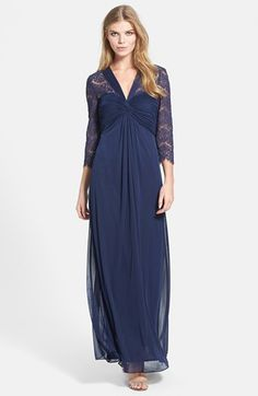Alex Evenings Lace Detail Front Twist Mesh Gown available at #Nordstrom mob