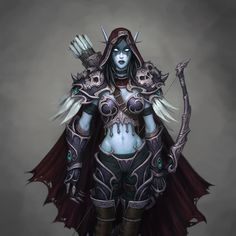 View an image titled 'Sylvanas Art' in our World of Warcraft: Wrath of the Lich King art gallery featuring official character designs, concept art, and promo pictures. World Of Warcraft, Art Warcraft, Warcraft Legion, Dark Fantasy, Fantasy Art, Elves Fantasy, Lady Sylvanas, Rpg Cyberpunk, Banshee Queen