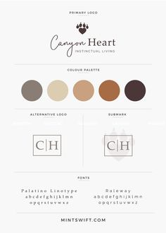 Step-by-step design process behind a logo and submark design for Canyon Heart by MintSwift- logo design, submark design, branding, graphic design, brand board Site Web Design, Design Design, Modelo Logo, Designers Gráficos, Brand Style Guide, Colour Pallette, Brand Board, Brand Identity Design, Grafik Design