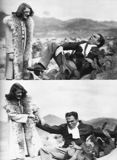 James Cagney and Bette Davis having fun on the set of The Bride Came C.O.D. with a fake rubber cactus used in the film.
