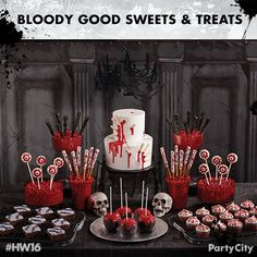 "Check out 6 dreadfully good treats! Wow your guests with a severed fingers cake, chain-theme brownies, bloodied cupcakes, edible ""bones"", and sinister candy apples!"