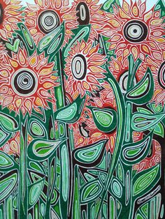 PRINT of Sunflowers Drawing in Ink Matted 14x18 by SandmansDream, $20.00