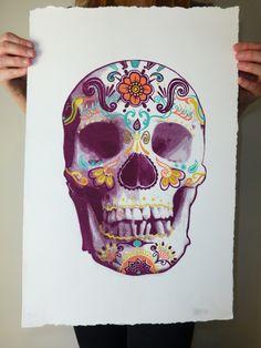 dobs-studio.com #skull #dayofthedead #diadelosmuertos #drawing #art #halloween #design #screenprint #illustration #sugarskull